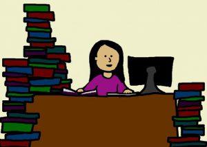 Girl at Desk cartoon